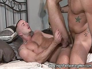 Muscular star tattood hunk gets a cock deep in his throat gays (gay) muscle (gay)