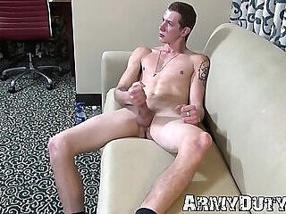 Soldier pours lotion all over his dick for more pleasure 6:59 2020-02-14