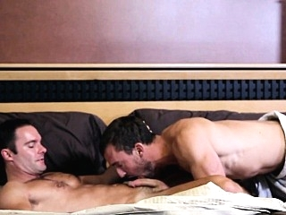 Athletic gay couple closeup at home in bed 6:00 2015-06-11