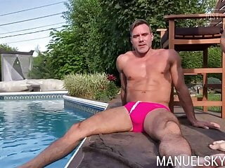 Poolside Fucking - Manuel Skye & Jake Nobello amateur bareback big cock
